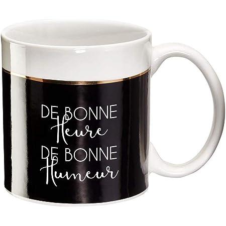 Draeger - Mug Original - Tasse À Thé à offrir en cadeau à vos proches - Tasse À Café en porcelaine fine - 350 ml 8 cm de diamètre x 8,5 cm de hauteur de bonne heure de bonne humeur