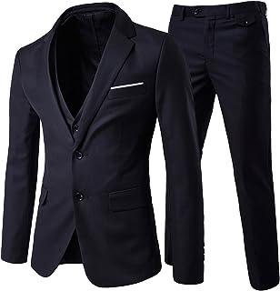 Men's Modern Fit 3-Piece Suit Blazer Jacket Tux Vest & Trousers, Black, XL