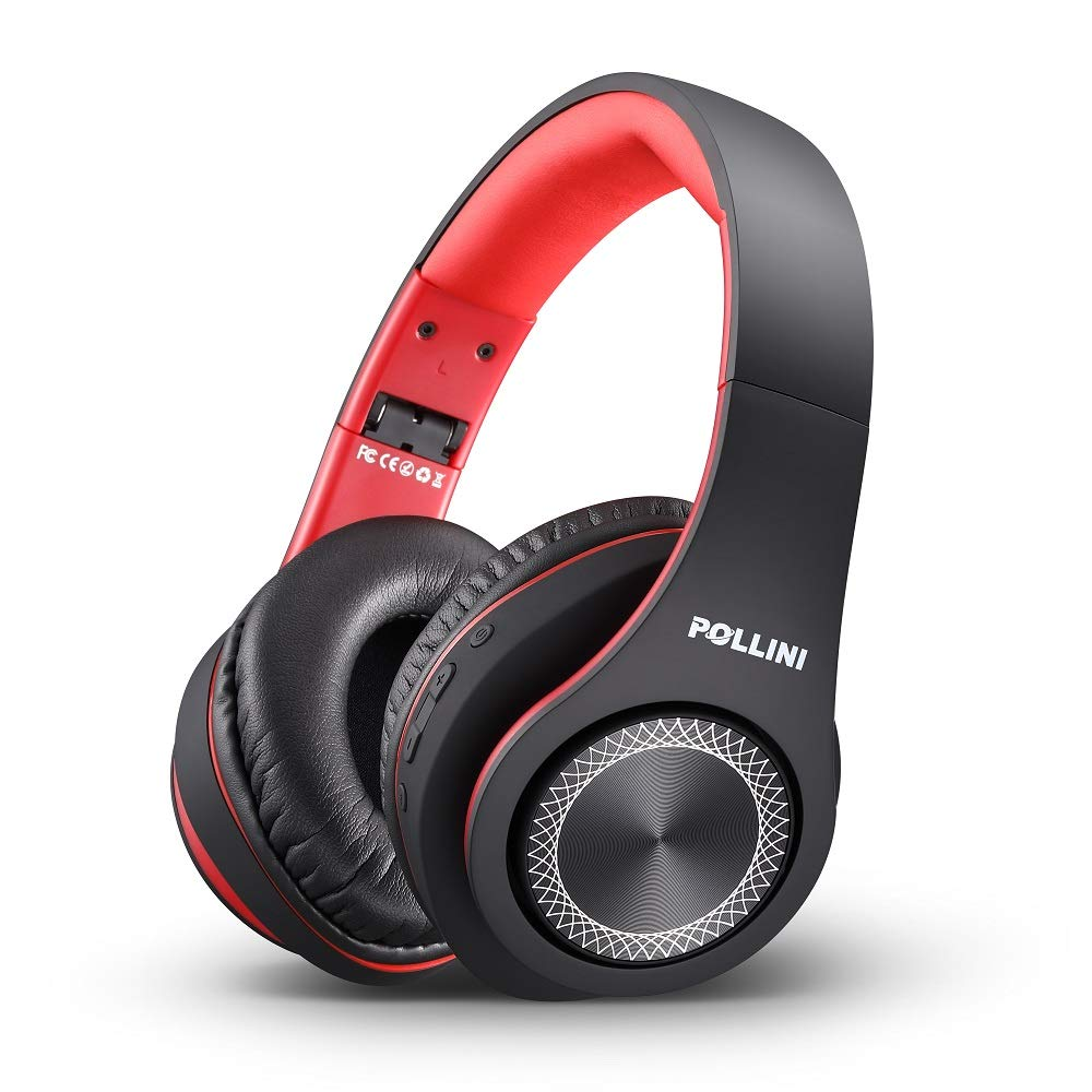 Amazon Com Bluetooth Headphones Over Ear Pollini Wireless Headset V5 0 With Deep Bass Soft Memory Protein Earmuffs And Built In Mic For Iphone Android Cell Phone Pc Tv Black Red Home Audio Theater