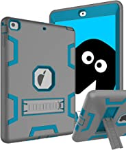 TOPSKY iPad Air Case, iPad A1474/A1475/A1476 Kids Proof Case, Heavy Duty Shockproof Rugged Armor Defender Kickstand Protective Cover Case for iPad Air Grey Blue