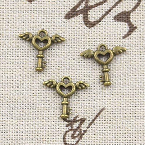 WANM 20Pcs Charms Fly Heart Key 14X14Mm Antique Tibetan Bronze Silver Color Pendant Findings Diy Vintage Choker Handmade Jewelry Alloy Pendant