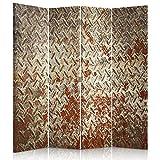 Feeby Frames Biombo Impreso sobre Lona, tabique Decorativo para Habitaciones, a Doble Cara, de 4 Piezas (145x150 cm), Pared, Hierro, Rojo, MARRÓN