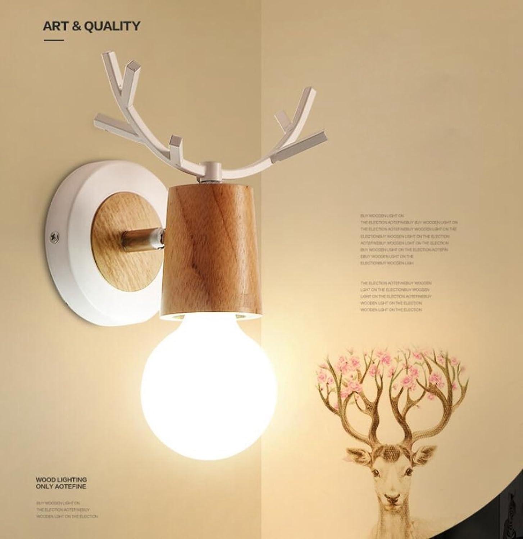 MSAJ Kreative Bettseite Wandleuchte Korridor Holz Wandleuchte