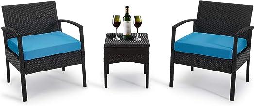 GREARDEN Patio 3 Pieces PE Rattan Wicker Chair Set, Garden Rattan Wicker Furniture Set Outdoor Indoor, 3 PCS Conversation ...