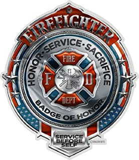 Collectible Firefighter Decals (4in,2pack), Share Your Support with Our Fire Honor Service Sacrifice Chrome Badge Stickers...