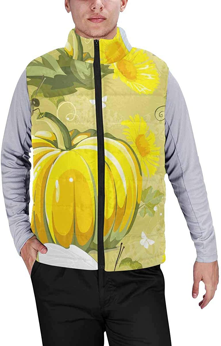 InterestPrint Men's Casual Sleeveless Coats with Personality Design Autumn Park Falling Tree