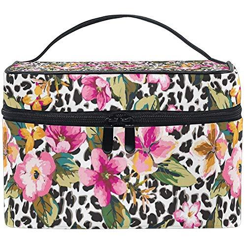 Fleur tropicale avec sac cosmétique léopard voyage maquillage train cas stockage organisateur