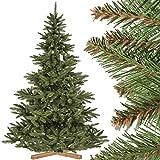 FairyTrees Árbol Artificial de Navidad Abeto Nordmann, Tronco Verde, PVC, Soporte de Madera, 220cm, FT14-220