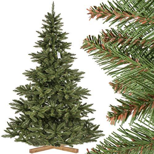 FairyTrees Abeto Nordmann, Tronco Verde, Árbol Artificial de Navidad, PVC, Soporte de Madera, 220cm