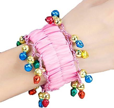 Calcifer 2 Pcs Womens Belly Dance Chiffon Wrist Bell Arm Cuffs Bracelets Elastic Bracelets