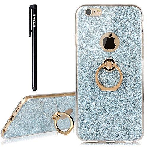BtDuck iPhone 6S Plus 6 Plus Hülle Silikon Transparent Slim mit Ring Handyhülle Glitzer Papier 2 in 1 Schutzhülle Metall Ring Stand Ständer Bumper Case Smartphone Halter Ständer Ringhalter