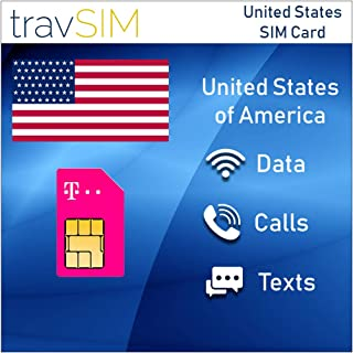 travSIM T-Mobile Prepaid USA SIM Card - 50GB Mobile Internet Data, Unlimited Calls & Texts For The United States – Tethering Allowed – 4G LTE For 15 Days