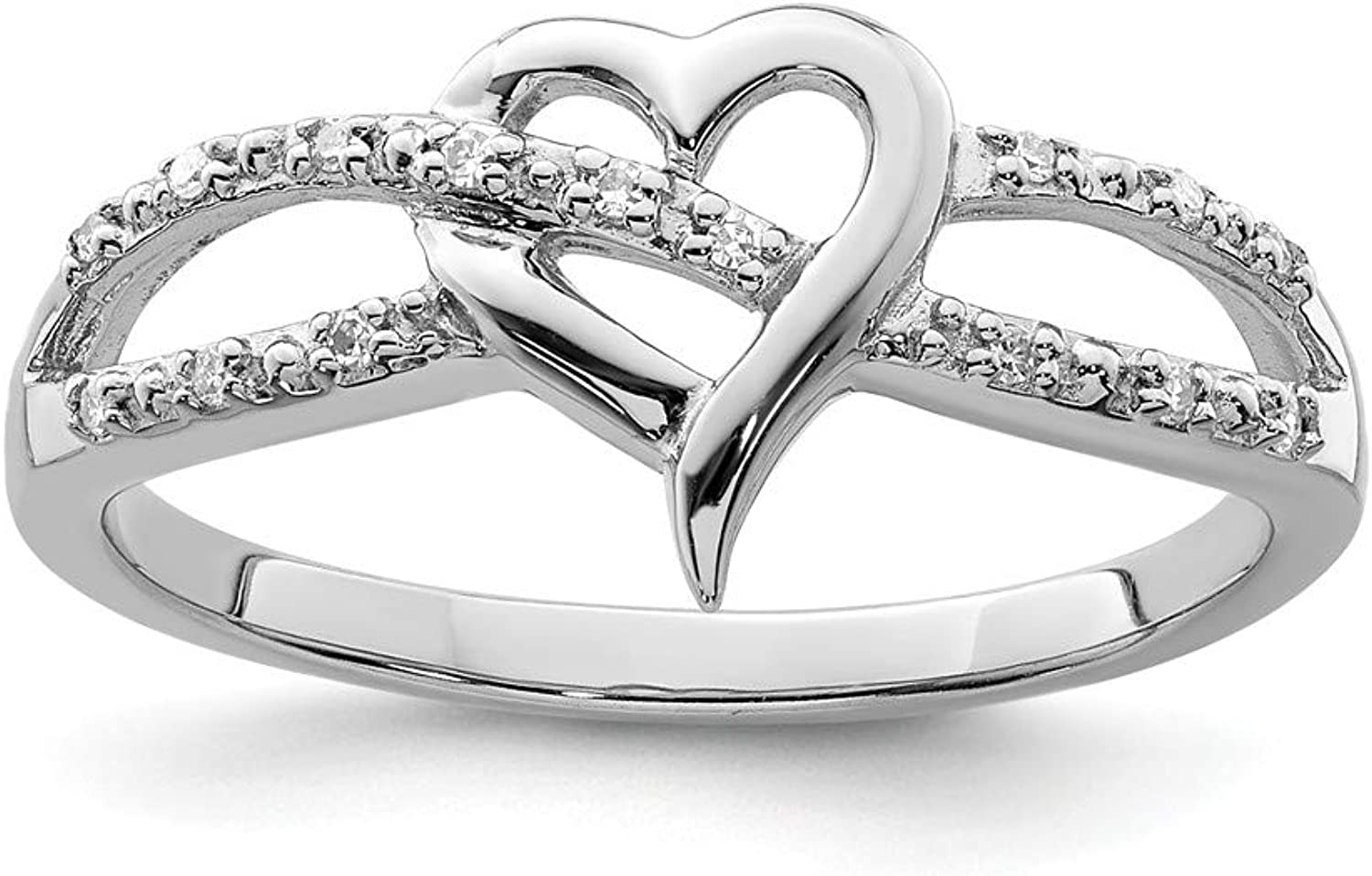 Beautiful Sterling silver 925 sterling Sterling Silver Rhodium Plated Diamond Heart Ring