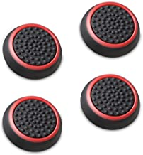 Fosmon (Set of 4) Analog Stick Joystick Controller Performance Thumb Grips for PS4, PS3, Xbox One, Xbox 360, Wii U (Black and Red)