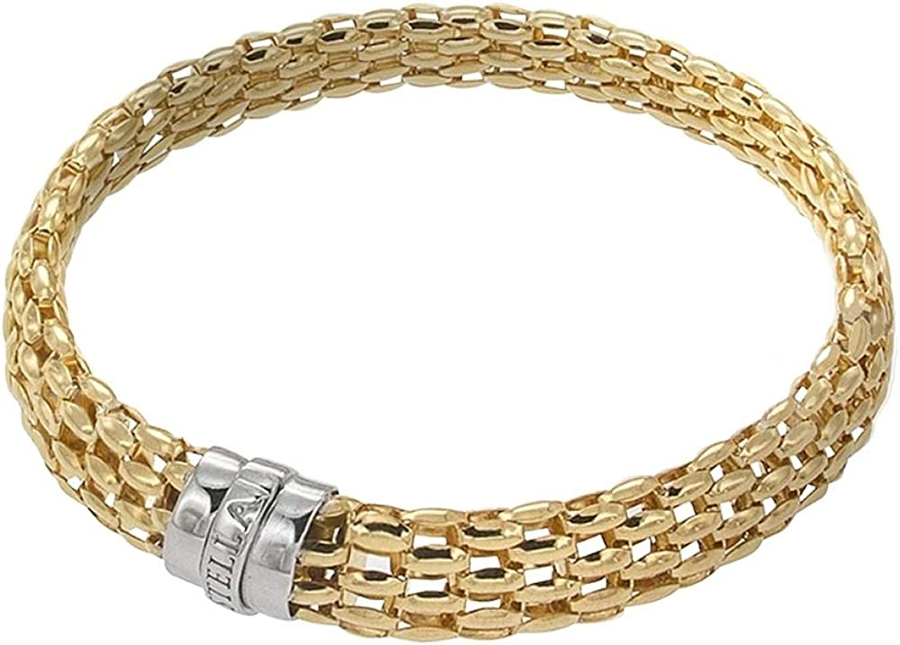 Gioielleria momenti preziosi bracciale da donna in oro giallo e bianco 18k 750/1000(19 gr) maglia sforzesca 21734869-GB 21734869-BR