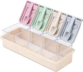 Conjunto Caja Condimentos Cocina Cuatro Rejillas Rack Ollas Especias Contenedor Almacenamiento Frascos Condimentos con Cuchara para la Cocina Hogar