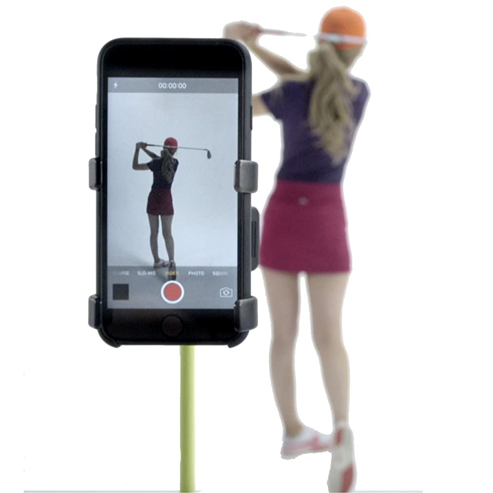 SelfieGolf Record Golf Swing - Cell Phone Clip Holder and Training Aid - Golf Accessories | Winner of The PGA Best Product | Works with Any Smart Phone, Quick Set Up
