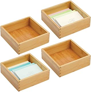 "$22 » mDesign Bamboo Stackable Drawer Organizer for Home Office, Desk Drawer, Shelf or Closet to Hold Staples, Highlighters, Adhesive Tape, Paper Clips, Stamps - 7"" Square, 4 Pack - Natural/Tan"