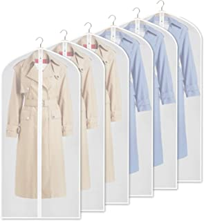 Zilink Clear Garment Bag Dress Bags for Storage 54-inch Dust-Free Coat Bags with Full Length Zipper for Clothes Closet Storage, Set of 6