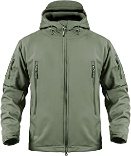 CRYSULLY Men's Outdoor Climbing Windproof Tactical Soft Shell Jacket Fleece Hooded Coat