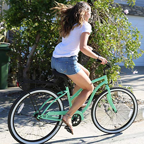 sixthreezero Around The Block Women's Electric Bicycle, 7-Speed Beach Cruiser eBike, 500 Watt Motor, 26' Wheels, Mint Green with Black Seat and Grips