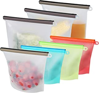 Silicone Storage Bag - Reusable Kitchen, Travel, Sous Vide Food Prep Containers - Airtight, Space-Saver, Smell and Leak Proof Bags - 3 1.5L Large: Clear, 4 1L Medium: Green, Red, Blue, White