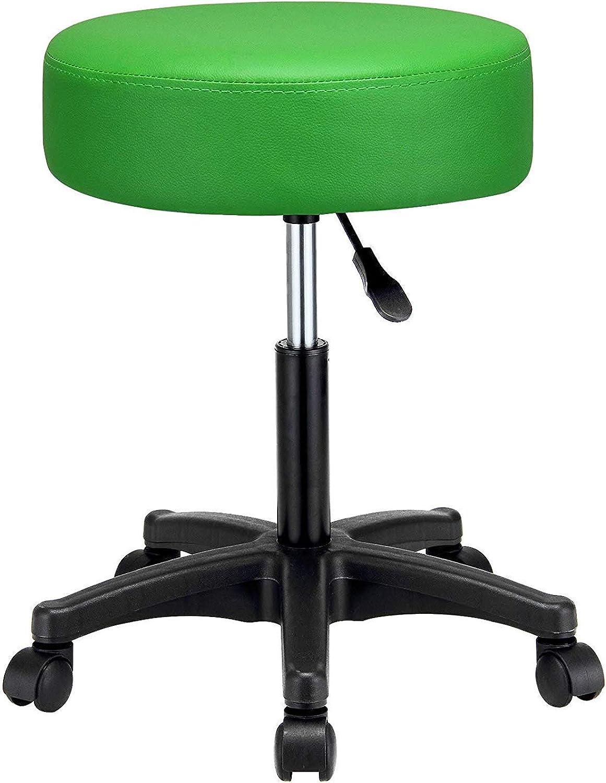 Swivel Stool Salon Massage Chair,Adjustable Work Chair,Tattoo Spa Massage Seat,PU Leather and Thick Padding,Green