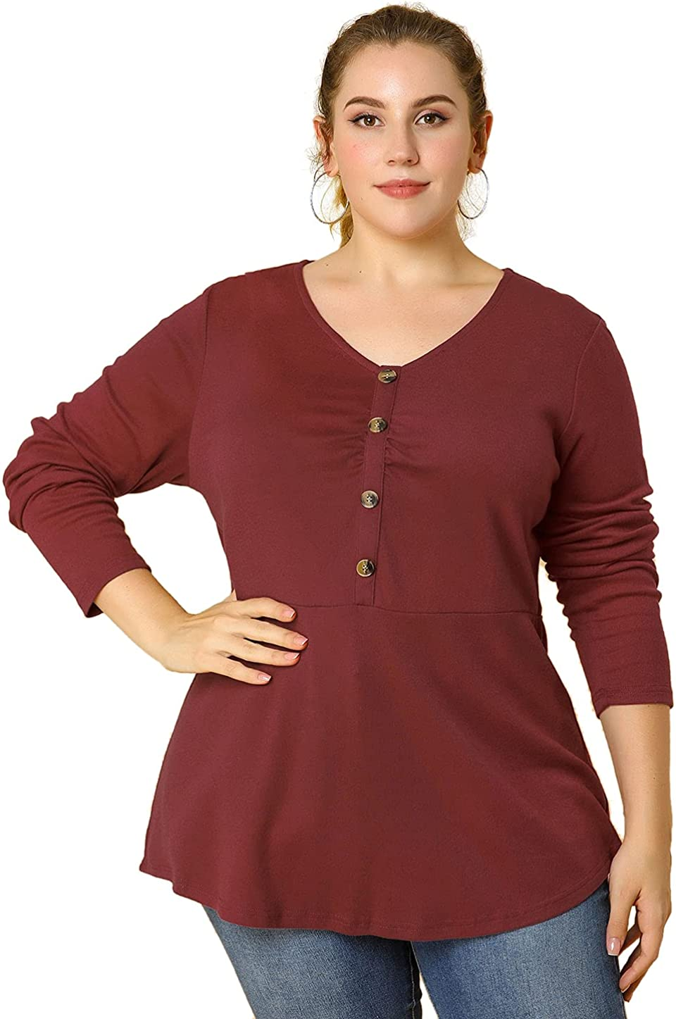 Agnes Orinda Women's Plus Size Tunic Top V Neck Basic Casual Knit Peplum Tops Mothers Day