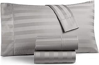 Charter Club Damask Stripe 550 Thread Count Supima Cotton 4 Piece Full Sheet Set Smoke