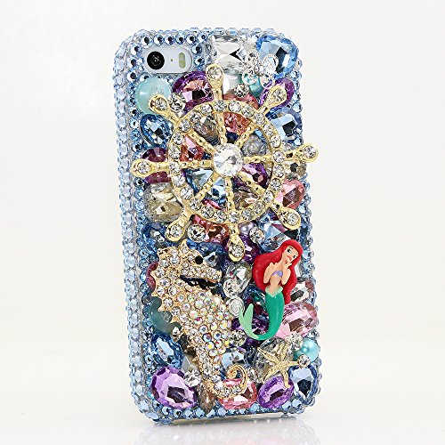 iPhone 6S Bling Case, iPhone 6 Case - LUXADDICTION [Premium Quality] 3D Handmade Crystallized Bling Case Swarovski Crystals Diamond Sparkle Blue Mermaid and Seahorse Hard Cover for iPhone 6 / 6S