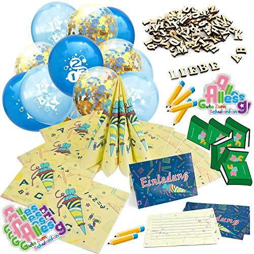 Oblique Unique® Schuleinführung Schulanfang Einschulung Deko Set für Jungs und Mädchen - Konfetti Luftballon Set + Einladungskarten + Servietten + Holz Buchstaben + Konfetti Set