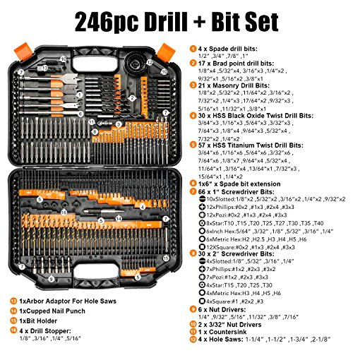 EnerTwist Drill Bit Set, 246-Pieces Drill Bits and Driver Set for Wood Metal Cement Drilling and Screw Driving, Top Rated Combo Kit Assorted in Plastic Carrying Case, ET-DBA-246
