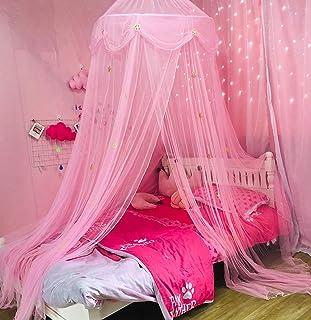 Nattey - Mosquitero para cama de princesa, con estrella dorada, para decoración de dormitorio de niñas, para cama individu...