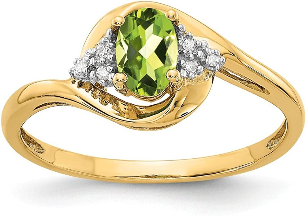 14k Yellow Gold Green Peridot Diamond Band Ring Size 7.00 Stone Birthstone August Fine Jewelry For Women Gifts For Her