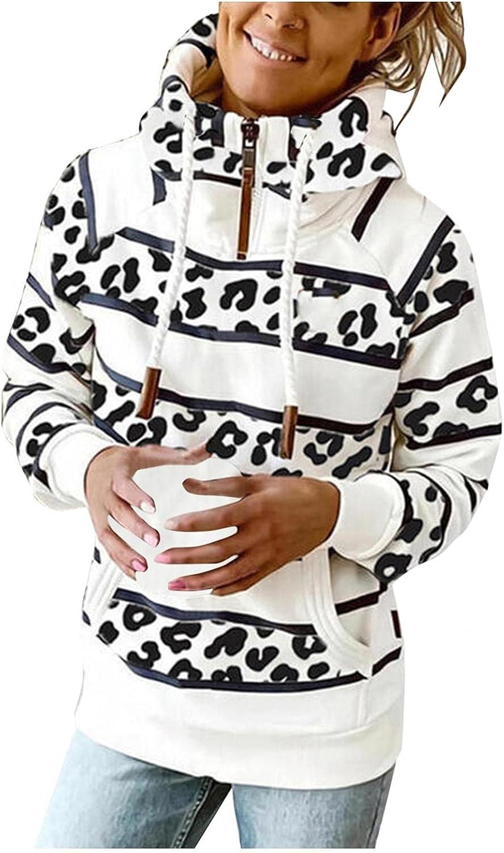 COMVALUE Hoodies for Women,Fashion Zipper Long Sleeve Striped Printed Lightweight Pullover Sweatshirts