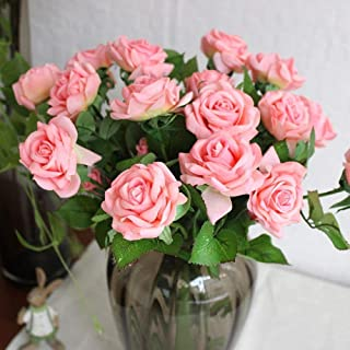 YSBER 10 Pcs Real Touch Silk Artificial Rose Flowers Silk Gluing PU Fake Flower Home Decorations for Wedding Party or Birthday Garden Bridal Bouquet Flower Saint Party Event(Pink)