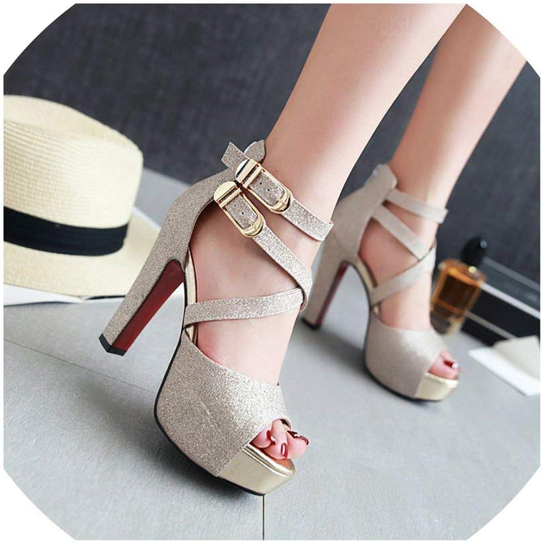 Lewis Pitman Women Platform Bling High Heel Sandals Peep Toe Dress Party Buckle Strap Heels
