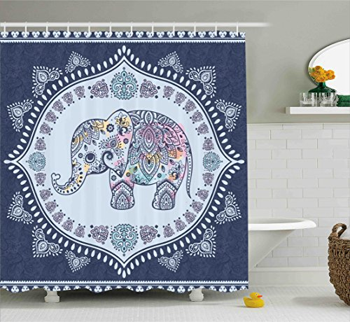 Ambesonne Ethnic Shower Curtain, Bohemian Elephant Figure with Gypsy Inspirations Spiritual Oriental Figures Graphic, Fabric Bathroom Decor Set with Hooks, 84 Inches Extra Long, Navy Blue