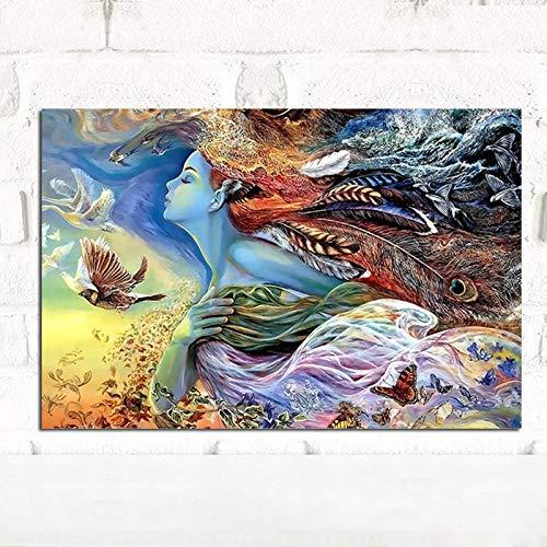 Geiqianjiumai vliegende veer meisjes canvas schilderij poster en prints kinderkamer decoratie aan de muur