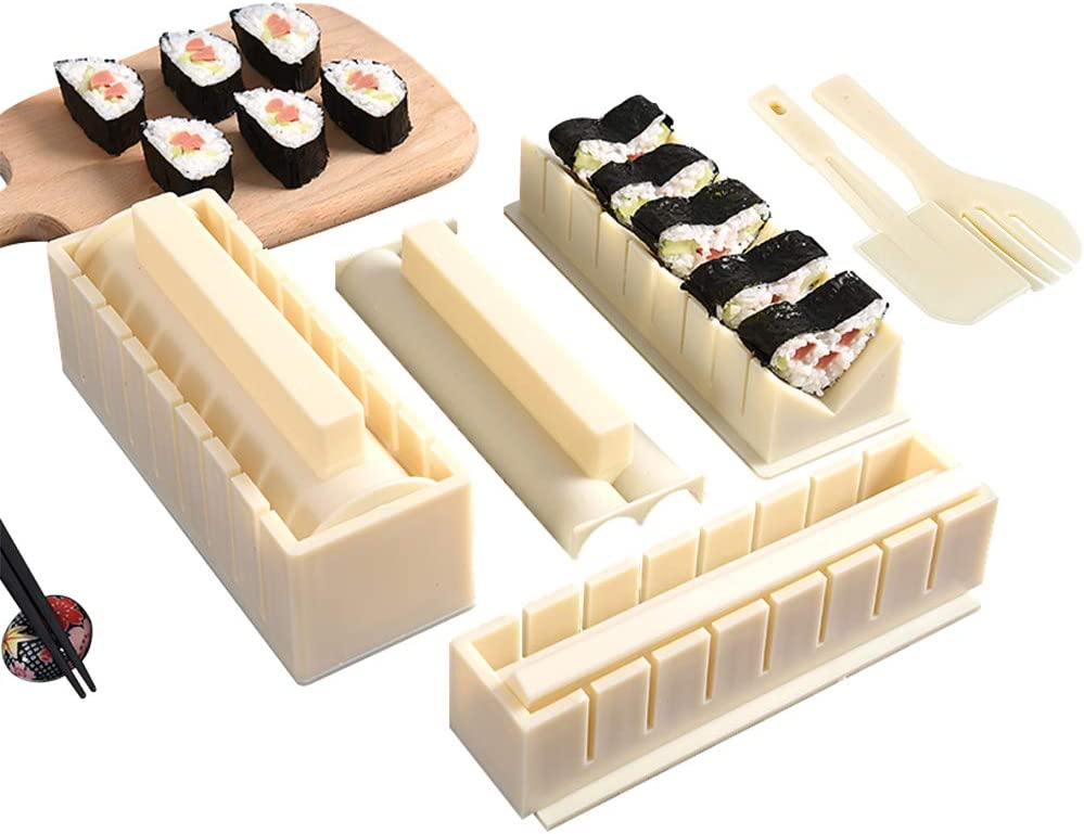 Sushi Making Kit Deluxe Edition-All In One Sushi Set 10 Piece,Food Plastic Sushi Maker Tool with 8 Different Shapes of Sushi Rice Roll Mold Fork Spatula DIY Home Sushi Tool