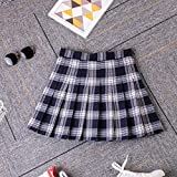 ERKDH Falda Plisada Mujer Faldas a Cuadros Estilo Preppy Harajuku Mini Uniformes Escolares japoneses Lindos Falda Kawaii para Mujer, 1716-azul Marino, M