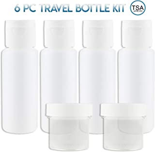 Lingito Travel Bottles Set (4 Pcs) With Cosmetic Containers (1 oz) - Portable 100% Leak Proof Refillable Toiletry Containers - Squeezable Tubes for Shampoo, Conditioner & Lotion