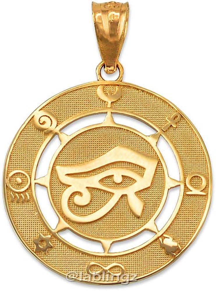 LA BLINGZ 10K Yellow Gold Eye of Horus Good Luck Amulet Pendant