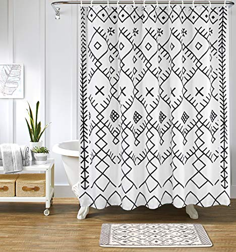 Uphome Boho Moroccan Shower Curtain Fabric Geometric Trellis Shower Curtains Black and White Tribal Shower Curtain Set with Hook Chic Bathroom Decor Heavy Duty, 71x71