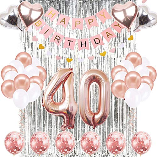 40st Rose Gold Birthday Decorations,Pink Happy Birthday Banner,Silver Foil Fringe Curtains,40th Rose Number Balloons Confetti Balloons for 40th Birthday Decorations