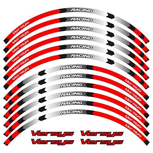 Accesorios de motocicleta Etiqueta de calcomanía de la raya Reflectante Reflectante de la rueda de la rueda de la rueda de 17 pulgadas Conjunto completo para Kawa-Saki versys650 (Color : Red A)