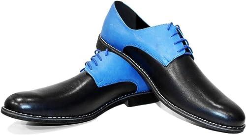 Modello Areno - Cuero Italiano Hecho A Mano Hombre Piel Farbe Blau schuhe Vestir Oxfords - Cuero Cuero Repujado - Encaje