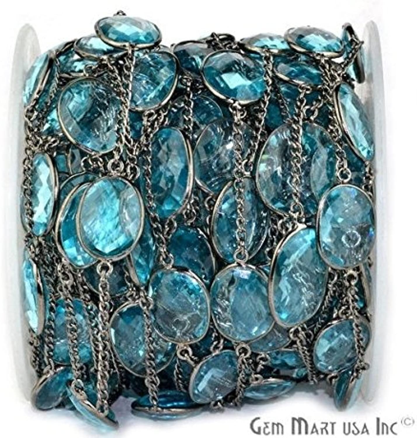 5 Feet Beautiful Hydro bluee Topaz Connector Chain, 15mm Up Black Plated Bezel Connector Chain By Feet (BPHB20003)