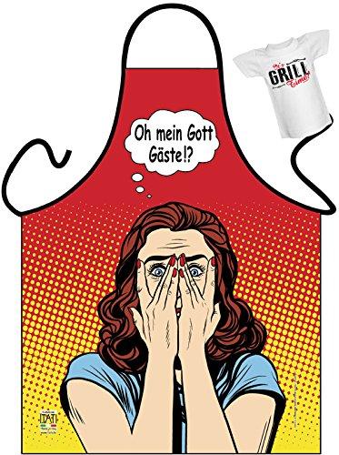 Kochschürze mit Mini Shirt: Oh Mein Gott, Gäste!? - Grillschürze, Schürze - Geschenk zum Geburtstag