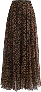 Women's Elastic Leopard Print Watercolor Maxi Skirt High...